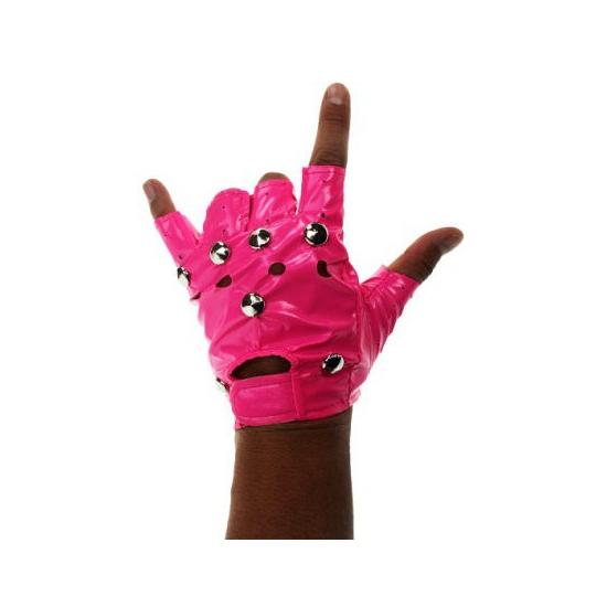 Verkleedaccessoires Geen Neon roze punk handschoenen