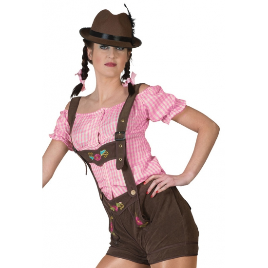 Oktoberfest - Bruine lederhosen voor dames