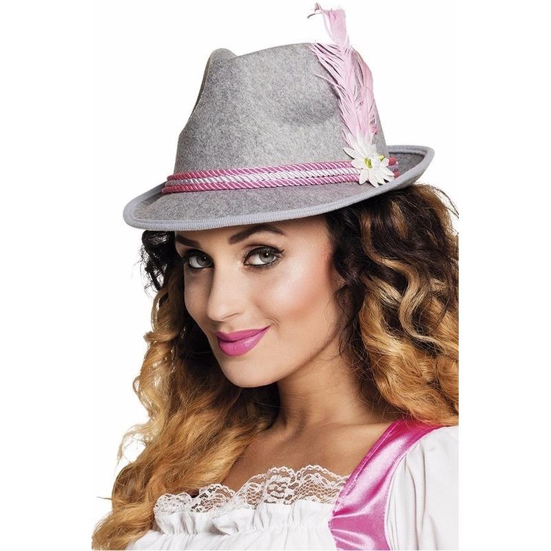 Geen Oktoberfest Grijs met roze Tiroler hoedje voor dames Feest hoeden
