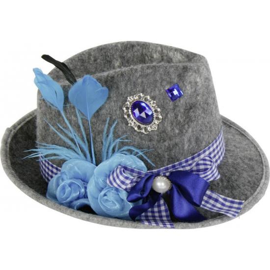 Feest hoeden Oktoberfest Grijze Tiroler hoed met blauwe veer