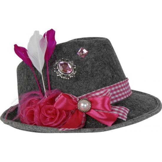 Carnavalskostuum winkel Oktoberfest Grijze Tiroler hoed met roze veer Feest hoeden