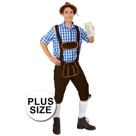 Oktoberfest - Grote maten lange lederhose Andreas donkerbruin voor heren