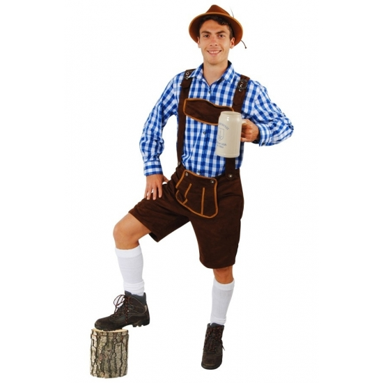 Oktoberfest - Korte lederhose Andreas donkerbruin voor heren