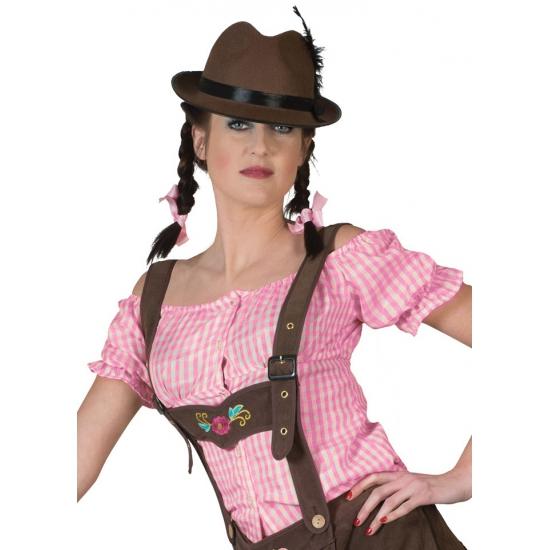 Oktoberfest - Roze geruite Tiroler blouse
