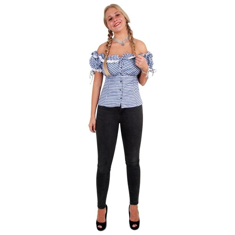 Oktoberfest - Tiroler blouse blauw/wit voor dames