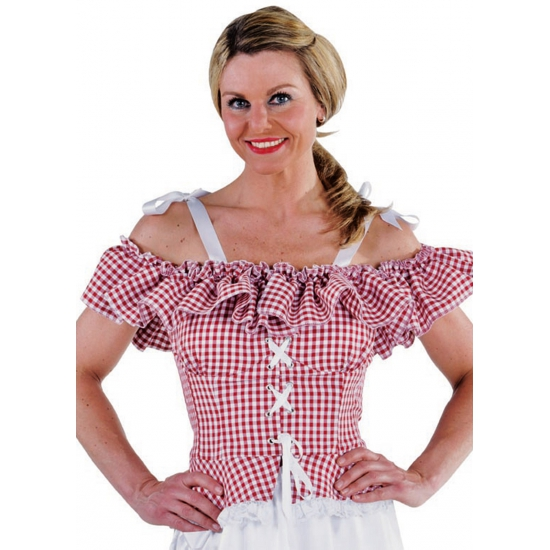 Oktoberfest Tiroler blouse Carmen rood geruit Carnavalskostuum winkel Oktoberfest kostuums