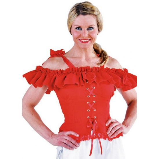 Carnavalskostuum winkel Oktoberfest Tiroler blouse Carmen rood Oktoberfest kostuums