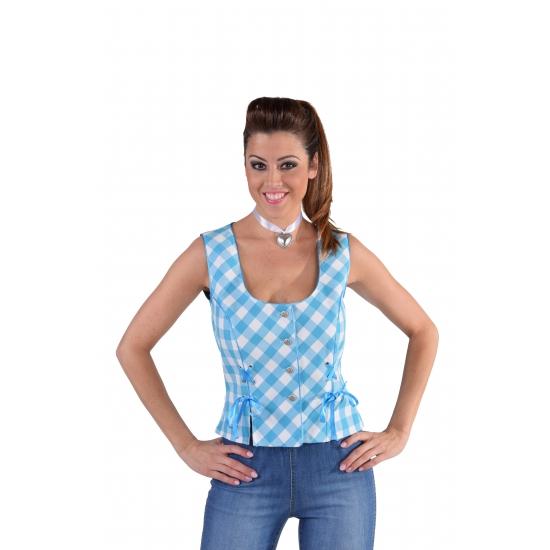 Oktoberfest kostuums Carnavalskostuum winkel Oktoberfest Tiroler shirt mouwloos blauw