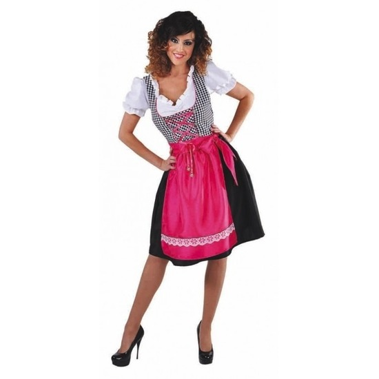 Oktoberfest - Zwarte Dirndl jurk met roze schort