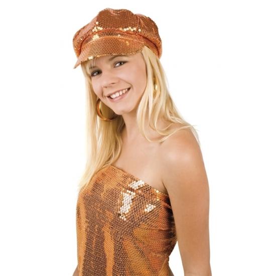 Oranje glitter cap