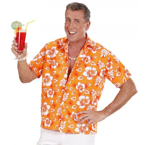 Oranje Hawaii shirt met bloemen Carnavalskostuum winkel Landen kostuums