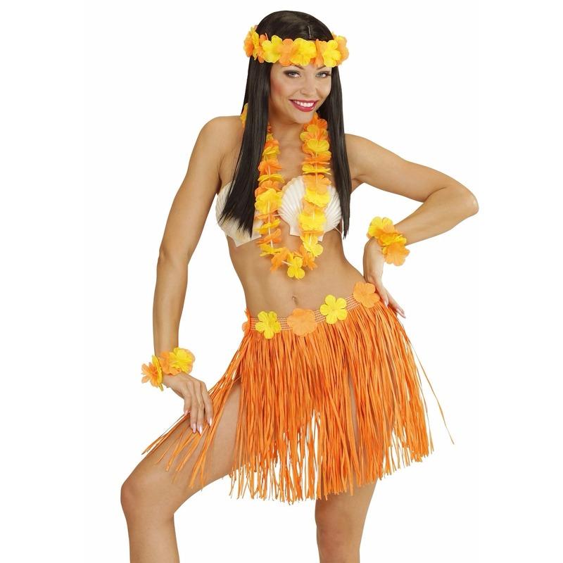 Carnavalskostuum winkel Oranje Hawaii verkleedset voor dames Verkleedaccessoires
