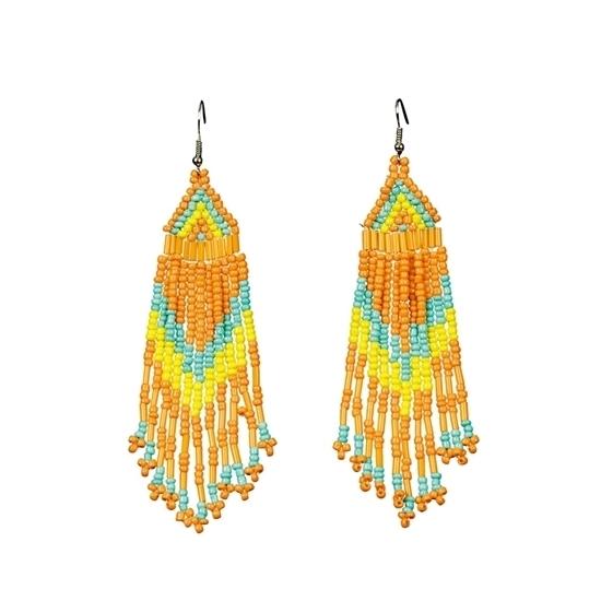 Verkleedaccessoires Carnavalskostuum winkel Oranje kralen oorbellen