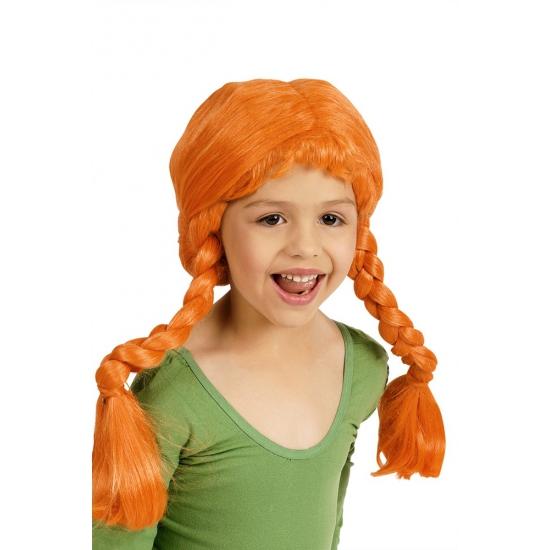 Pruiken Carnavalskostuum winkel Oranje meisjespruik met vlechtjes