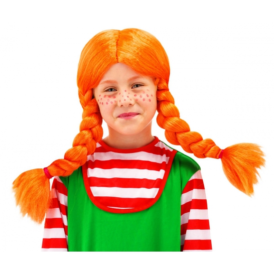 Pruiken Oranje pruik met vlechten voor meisjes