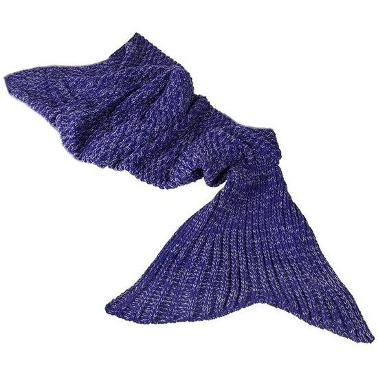 Paarse gebreide zeemeermin deken voor meisjes 140 cm