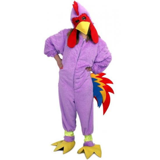 Dierenpakken Paarse kip onesie voor volwassenen