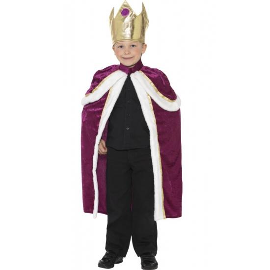 Paarse konings cape voor kinderen van fluweel