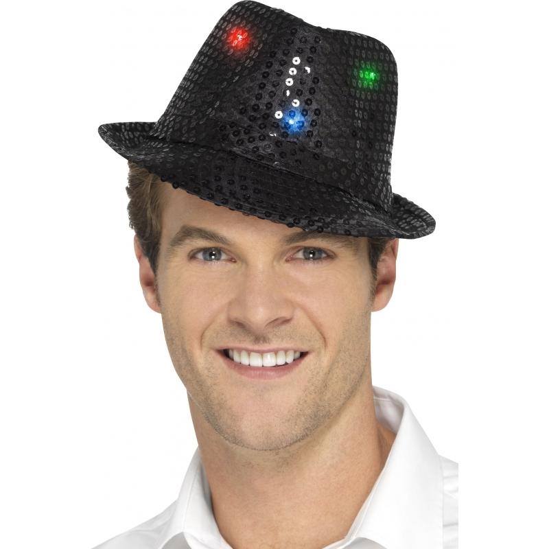 Pailletten hoedje zwart met LED lichtjes Geen Kopen