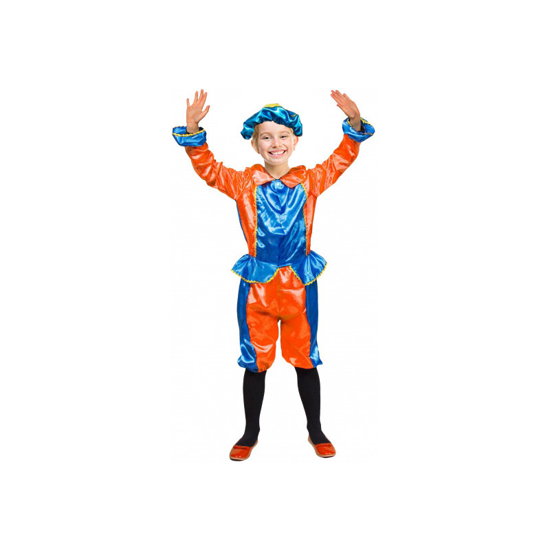 Pieten kids kostuum oranje met blauw