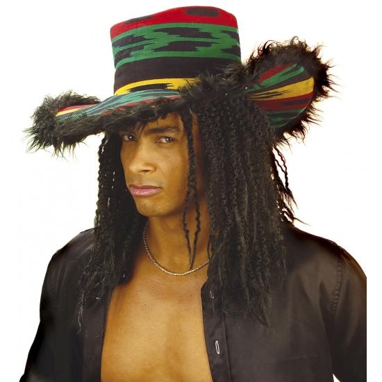 Pimp reggae hoed met pluche voor volwassenen Carnavalskostuum winkel Feest hoeden