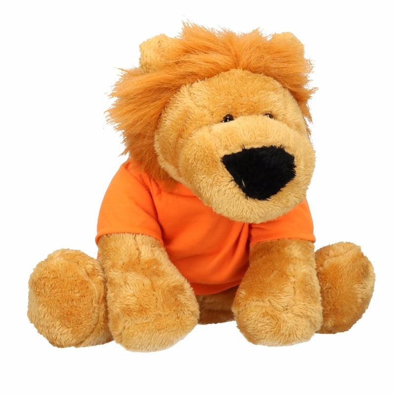 Pluche Holland leeuw knuffel 30 cm met oranje shirt