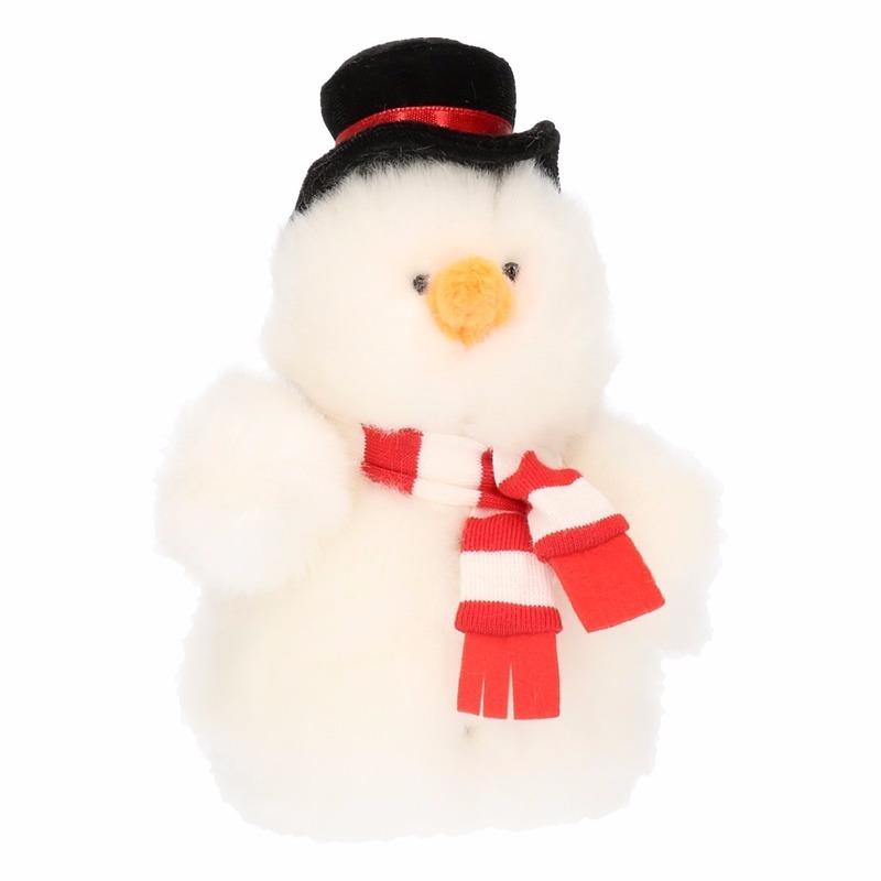 Pluche sneeuwpop knuffel 14 cm