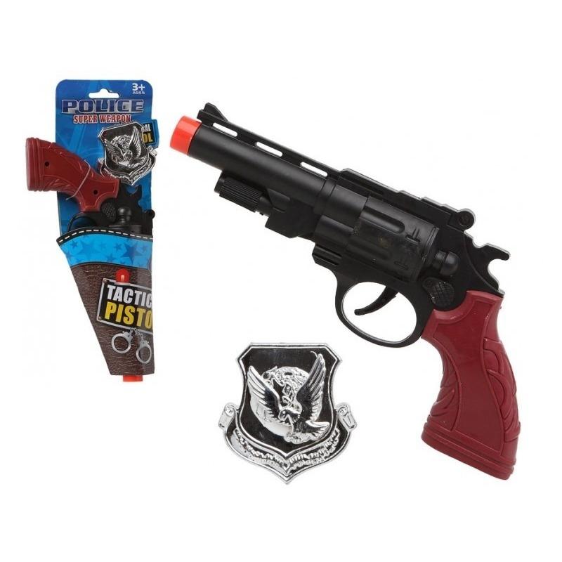 Politie speelgoed pistool/pistolen zwart 27 cm