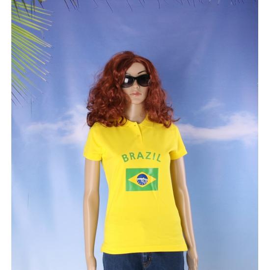 Landen versiering en vlaggen Polo met Brazilie vlag voor volwassenen