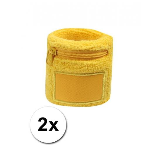 Pols zweetbandje met rits geel 2 stuks
