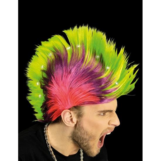 Punker hanekam pruik met LED Carnavalskostuum winkel Goedkoop