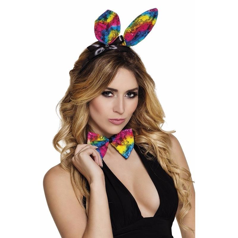 Geen Regenboog bunny set voor volwassenen Verkleedaccessoires