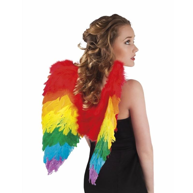 Geen Regenboog veren verkleed vleugeltjes 50 cm Verkleedaccessoires