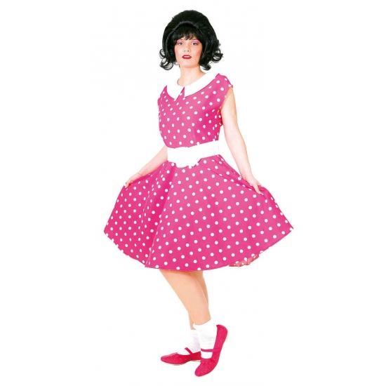Geschiedenis kostuums Geen Rock n roll jurk roze met wit