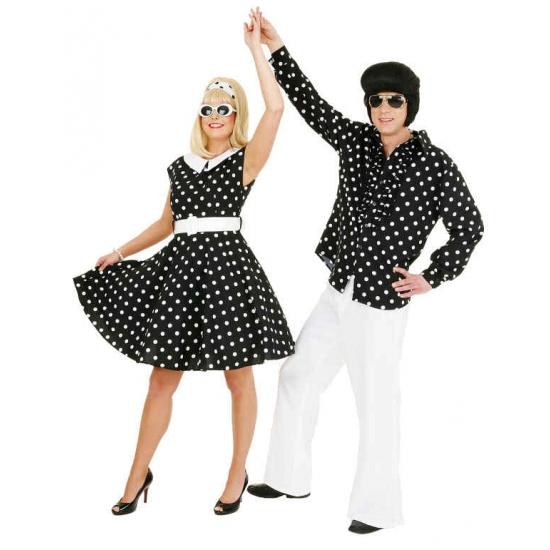 Geen Rock n roll jurk zwart met wit Geschiedenis kostuums