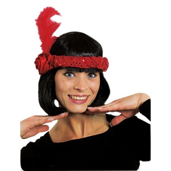 Verkleedaccessoires Carnavalskostuum winkel Rode Charleston hoofdband