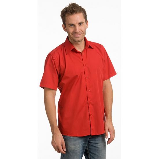 Lemon Soda Rode heren overhemden met korte mouwen Overhemden