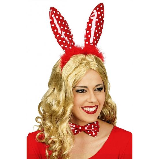 Verkleedaccessoires Carnavalskostuum winkel Rode konijnenoren diadeem met witte stippen