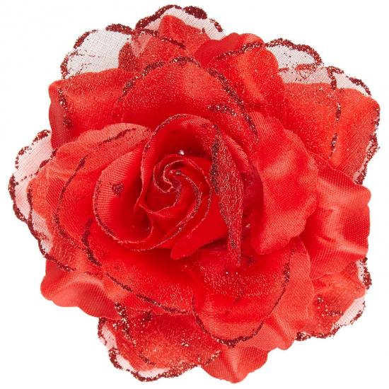 Verkleedaccessoires Carnavalskostuum winkel Rode roos haarbloem met glitters