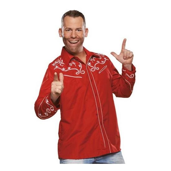 Rode western blouse voor heren