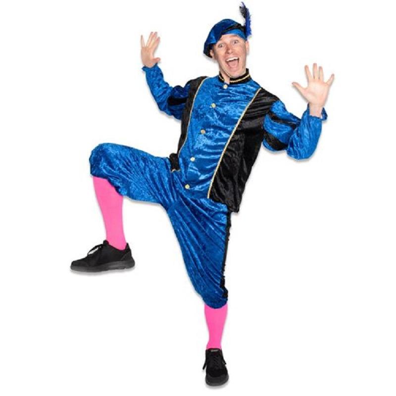 Roetveeg Pieten kostuum blauw/zwart voor volwassenen
