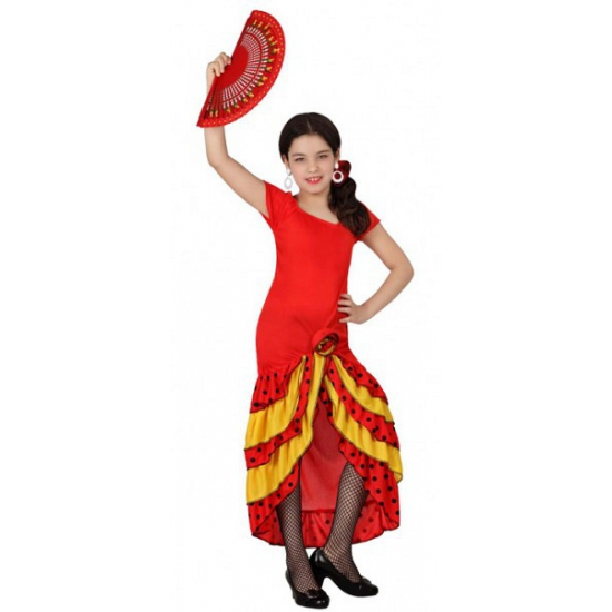 Landen kostuums Carnavalskostuum winkel Rood met gele Flamenco meisjes jurk