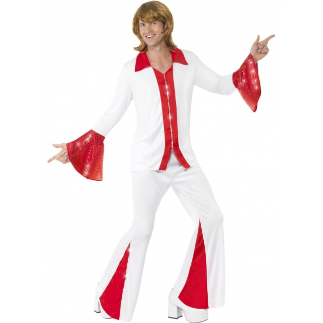 Rood met wit disco pak wijd uitlopend