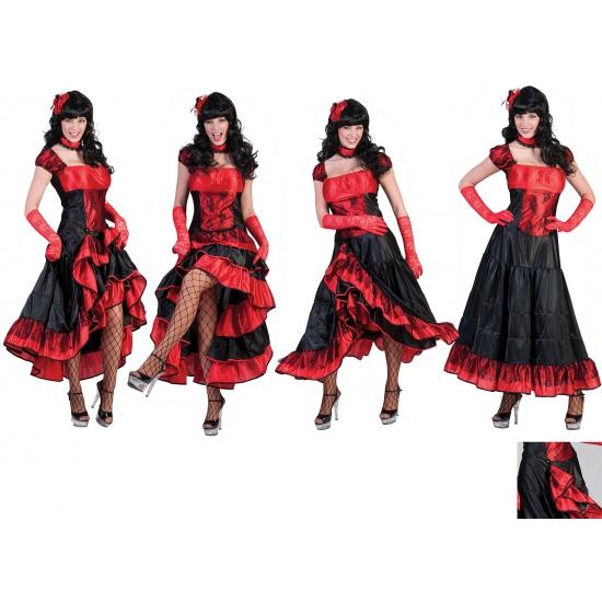 Geschiedenis kostuums Rood met zwarte cancan jurk