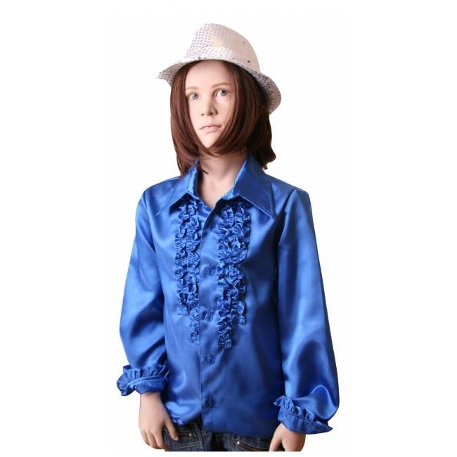 Rouches blouse in kobalt blauw voor meisjes Geen Soorten kostuums