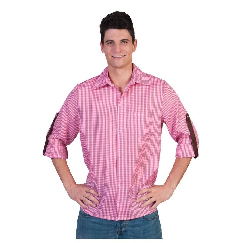 Roze geruite verkleedkleding voor heren