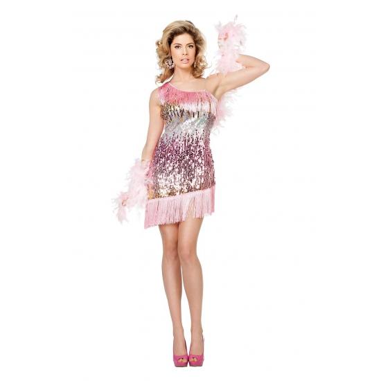 Roze glitter verkleedjurkje