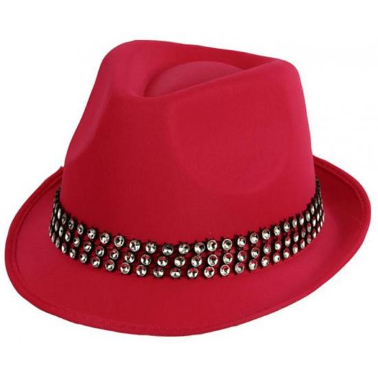 Feest hoeden Carnavalskostuum winkel Roze hoedjes van stof met steentjes