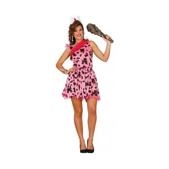 Geschiedenis kostuums Carnavalskostuum winkel Roze holbewoner kostuum voor dames