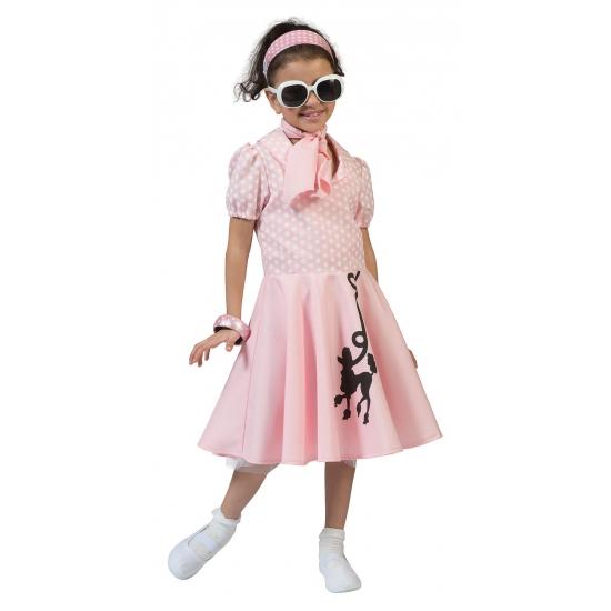 Geschiedenis kostuums Carnavalskostuum winkel Roze jaren 50 meisjes jurkje